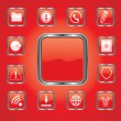 Stockvector : Set of vector buttons with web icons in red, illustration.