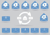 Vector mail icon set — Stock Vector