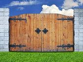Sztuka drewniane drzwi w naturze — Zdjęcie stockowe