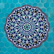 Stock Photo: Islamic mosaic pattern with blue tiles