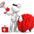 Stock Photo: Medic with megaphone and big red brain