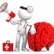 Medic with megaphone and big red brain — Stock Photo