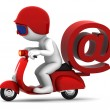 Royalty-Free Stock Photo: Person on scooter wit e-mail symbol. E-mail delivery concept
