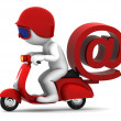 Person on scooter wit e-mail symbol. E-mail delivery concept — Stock Photo #9134456