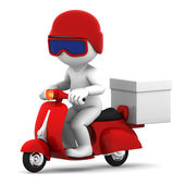 Delivery scooter with big white box — Stock Photo