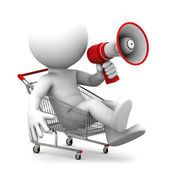 Person ith megaphone inside shopping cart — Stock Photo