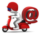 Person on scooter wit e-mail symbol. E-mail delivery concept — Stock Photo