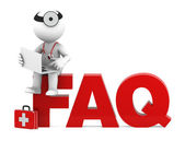 Medic sitting on FAQ sign. Frequently asked questions concept — Stock Photo