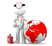 Medic with globe. Global medical services concept — Stock Photo