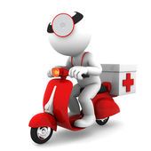 Medic on scooter. Emergency medical service concept — Stock Photo