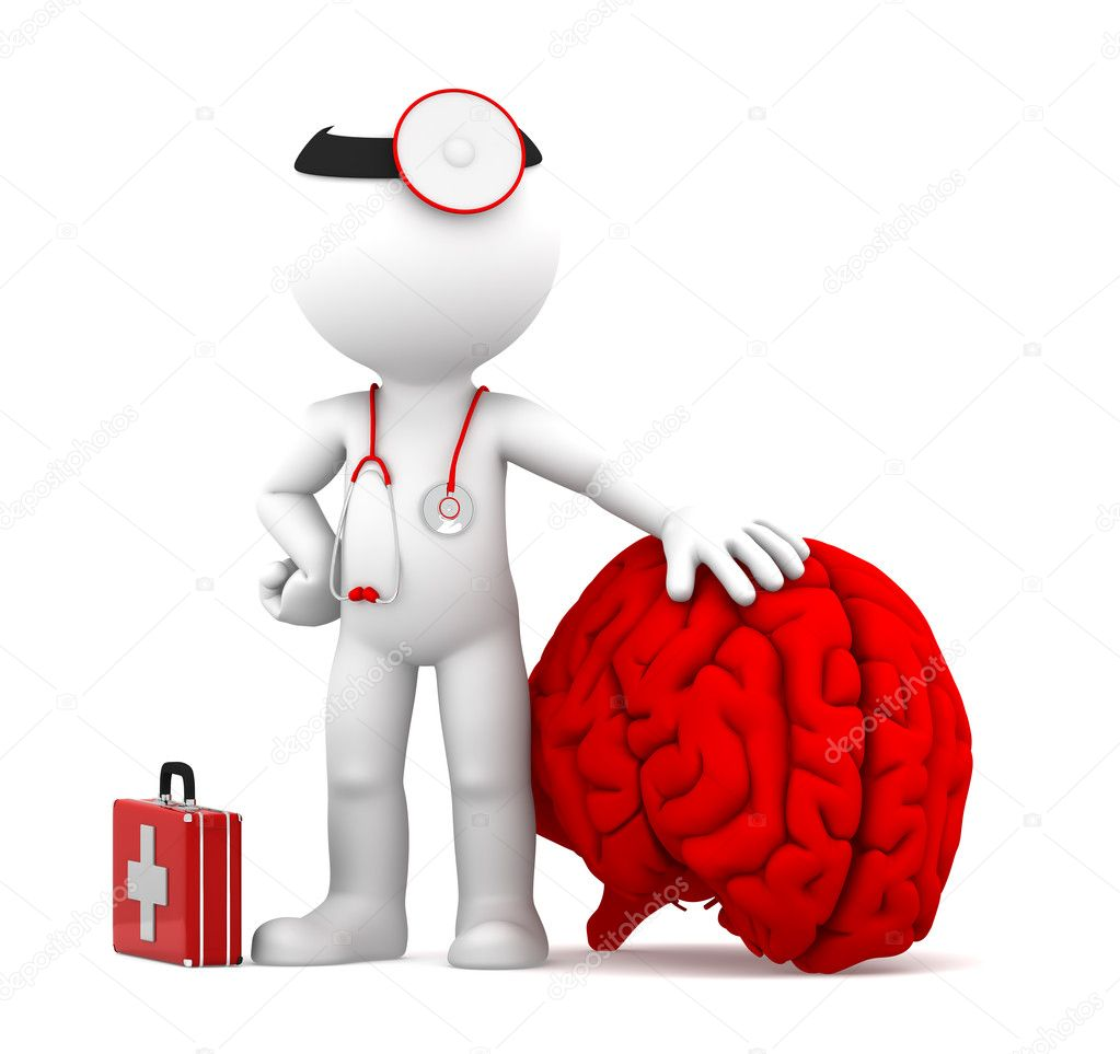 Medic with big red brain. Isolated over white background — Stock Photo #9134412