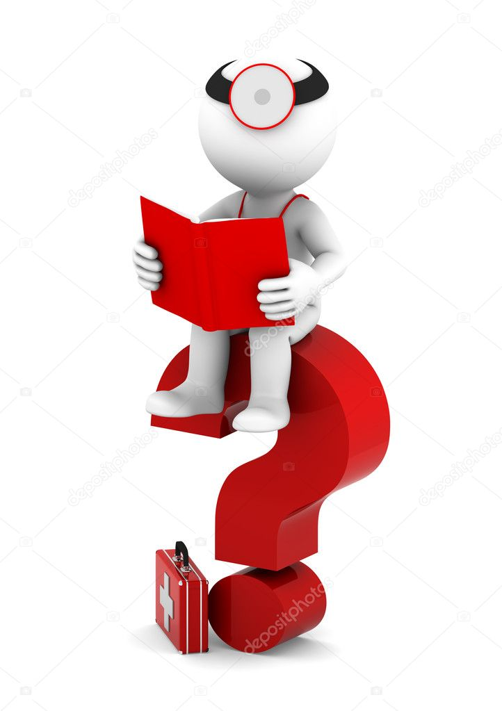 Medic with book sittting on red question mark. Isolated on white — Stock Photo #9134525