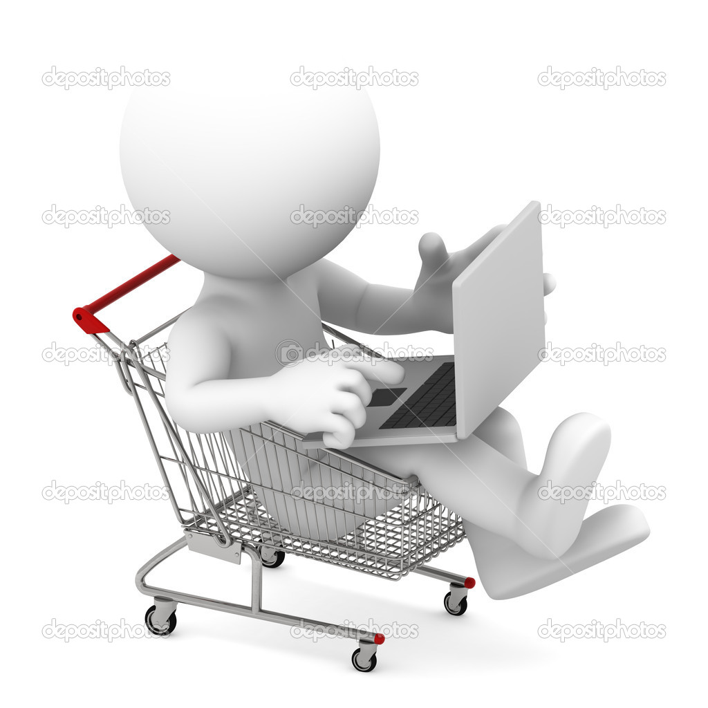 Man And Laptop Online Shopping Royalty Free Stock Images - Image