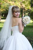 Bride with wedding bouquet. — Stock Photo