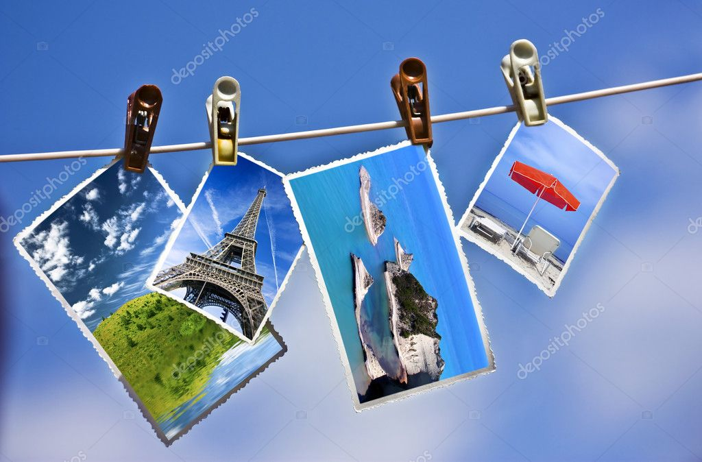 Vacation photos hanging on a clothesline  — Stock Photo #8818671