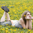 Girl in the sping field - Foto Stock