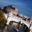 Sant Angelo Castle and Bridge in Rome, Italy — Stock Photo