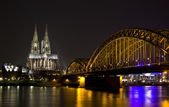Rhine River and Dom of Cologne, Germany — Stock Photo