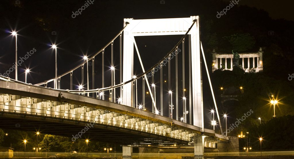 Elisabeth bridge at night in Budapest, Hungary — Stockfoto #9537792