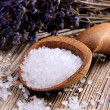 Stock Photo: Salt in wooden spoon