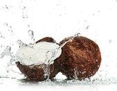 Knäckt kokos med stänkande vatten — Stockfoto