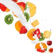 Fresh fruits in cream splash — Stock Photo