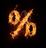 Fire alphabet percent sign — Stock Photo