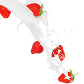 Strawberries in cream splash — Stock Photo