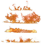 Coleção de chamas de fogo no fundo branco — Foto Stock