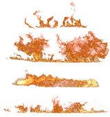Collection de flammes de feu sur fond blanc — Photo