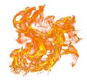 Brand vlammen op wit — Stockfoto