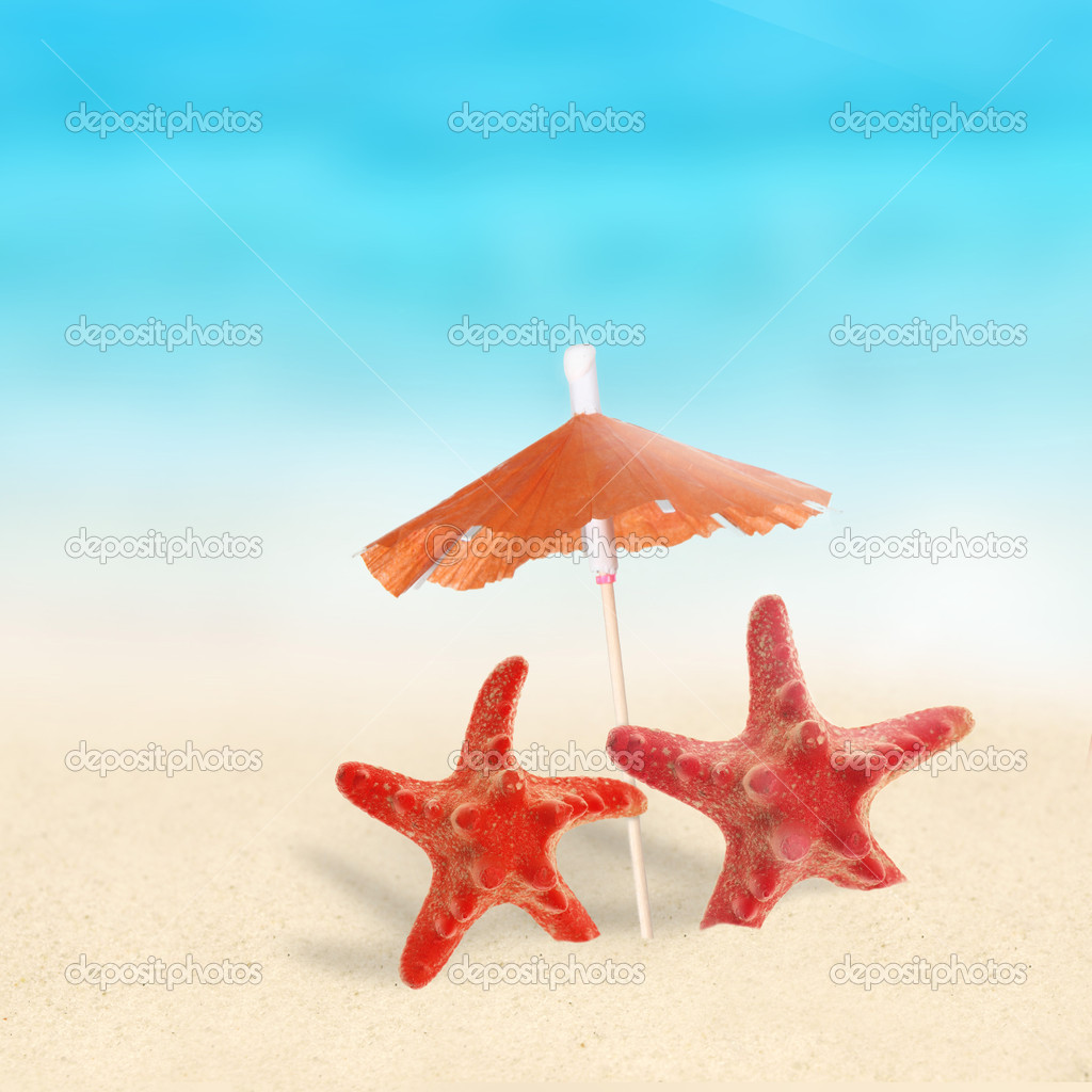 Starfish on the Beach with umbrella  Stock Photo #9128994