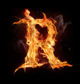 "Fire alphabet letter ""R"" — Stock Photo"