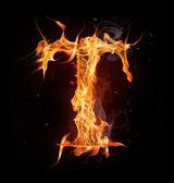 "Fire alphabet letter ""T"" — Stock Photo"