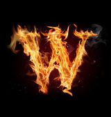 "Fire alphabet letter ""W"" — Stock Photo"