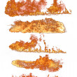 High resolution fire collection of isolated flames on white background - Stock Photo
