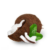 Chopped coconuts with leaves on white background. — Stock Photo
