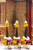 Beautiful flower garlands for Buddhist worship — Stock Photo