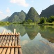 Stock Photo: Bamboo rafting on Li-river, Yangshou, China