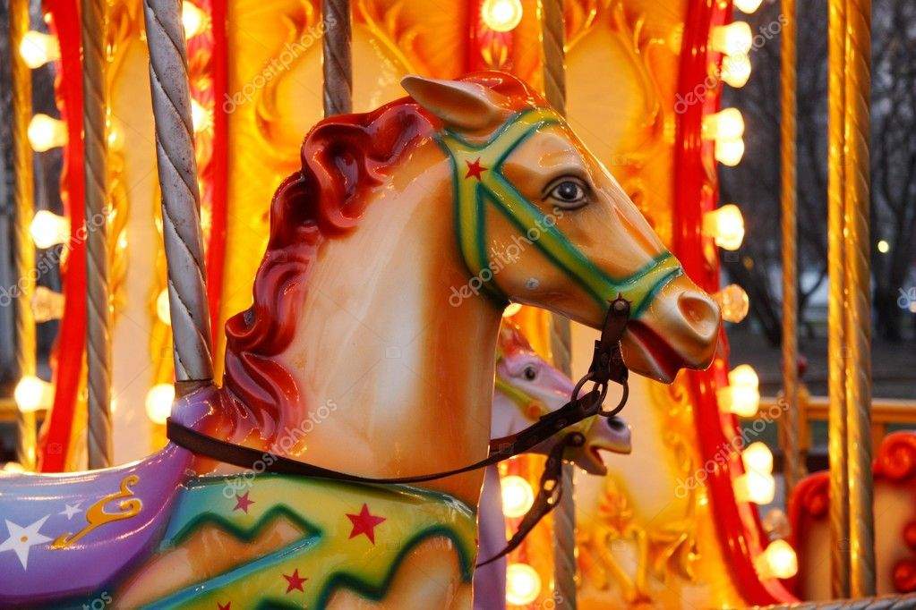 Glossy horse - Park amusement carousel — Stock Photo #8467065