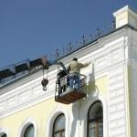 Renovation of house facade — Stock Photo