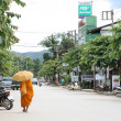 Stock Photo: Monk walking in Pai, Thailand