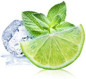 Lime, mint and ice cube — Stock Photo