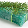Stock Photo: Pine soap with pine branch.