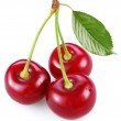 Three perfect sweet cherries with the leaf — Stock Photo #8163849