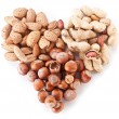 Stock Photo: Nuts in shape of heart