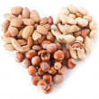 Nuts in the shape of heart - Stock Photo