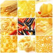 İtalyan makarna çeşitleri fotoğraf. gıda kolaj. — Stok fotoğraf
