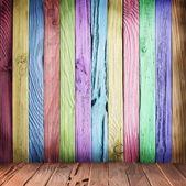 Pared multicolor de tablones de madera. — Foto de Stock