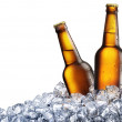 Two bottles of beer on ice — Stock Photo